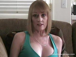 Mature busty blonde girlfriend begs to sucks my big cock