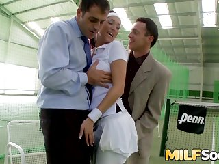 Stunning MILF Lea Magic Cum Drenched After DP Threesome at the Tennis Court