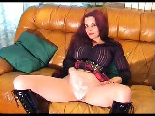 This slut is really excited to wear tights and she wants to rub her sweet twat