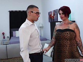 BBW Enjoys Big Nerd's Cock