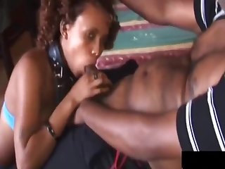 African Gives Rough Blow Job Outdoors