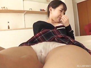 Japanese babe in a miniskirt and socks Mitani Akari pussy licked